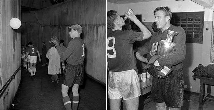 10.07.1960 Soviet Union - Yugoslavia 2:1. Lev Yashin in the tunnel before the 1960 European Nations Cup final (left); Lev Yashin after match with Cup Championship for Nations (right)