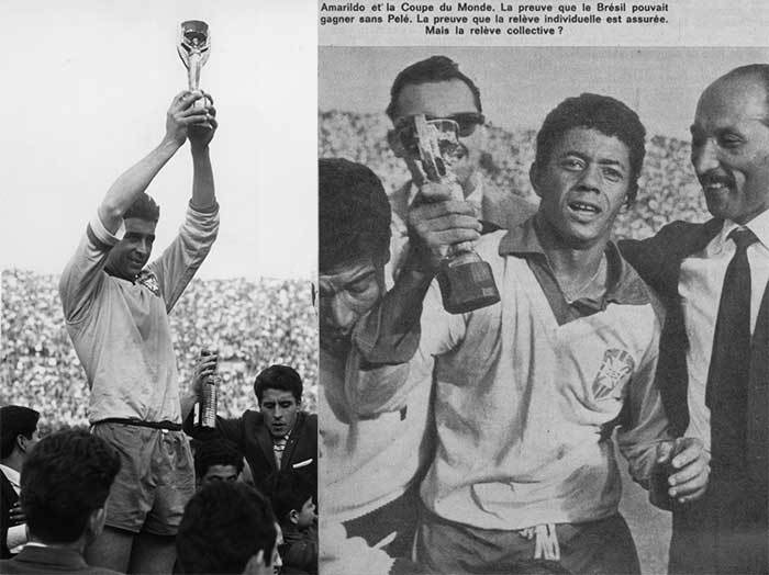 17.06.1962 Brazil captain Mauro Ramos lifting the World Cup trophy in 1962 (left). Amarildo (right)