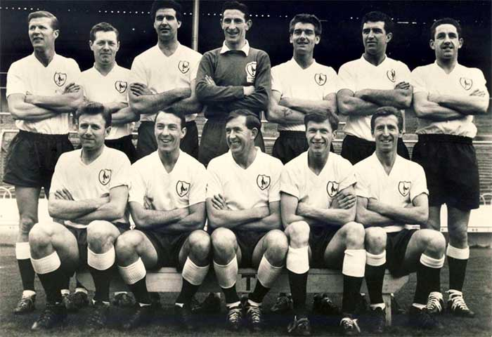 The men who made 1961-1962 another memorable season for Tottenham Hotspur. Back row (left to right): Peter Baker, Les Allen, Maurice Norman, Bill Brown, Ron Henry, Bobby Smith, Dave Mackay. Front row: Terry Medwin, Jimmy Greaves, Danny Blanchflower (captain), John White, Cliff Jones