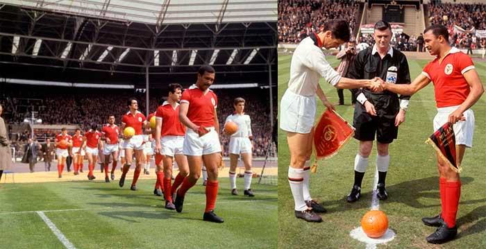 22.05.1963 Милан - Бенфика 2:1. Left: Benfica and Milan take the field at Wembley, 22 May 1963. Right: Cesare Maldini and Mario Coluna at Wembley, before the 1963 European Cup final
