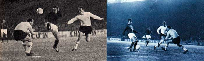 27.02.1963 France - England 5:2. 3 min. Maryan Wisnieski 1:0 (left); 32 min. Yvon Douis 2:0 (right)