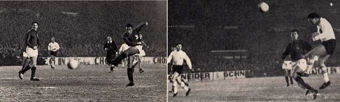 27.02.1963 France - England 5:2. 43 min. Lucien Cossou 3:0 (left); 57 min. Robert Smith 3:1 (right)