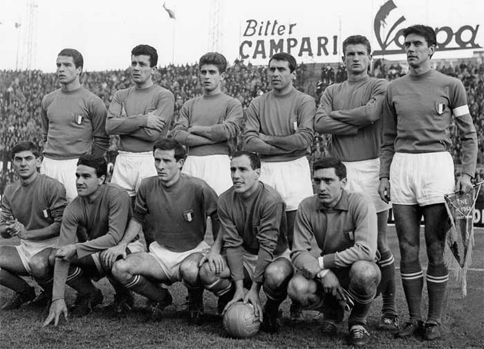 02.12.1962 Italy - Turkey 6:0. Italy national team. Front Row: Giacomo Bulgarelli, Enzo Robotti, Romano Fogli, Ezio Pascutti, William Negri. Back Row: Alberto Orlando, Francesco Janich, Gianni Rivera, Paride Tumburus, Angelo Sormani, Cesare Maldini
