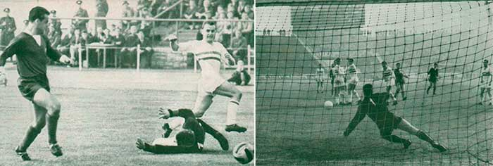 Left: 19.10.1963 East Germany - Hungary 1:2. 18 min. Bene Ferenc 0:1; right: 03.11.1963 Hungary - East Germany 3:3. 12 min Werner Heine 1:1