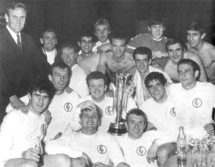 11-09-1968. Dressing Room celebrations at the Nep Stadium: Back Row: Don Revie (Manager), Les Cocker (Trainer), Jack Charlton, Mick Bates, Terry Yorath, Paul Reaney, Terry Hibbitt, David Harvey, Terry Cooper, Rod Belfitt. Front Row: Peter Lorimer, Paul Madeley, Gary Sprake, Billy Bremner, Mick Jones, Norman Hunter, Mike OGrady.