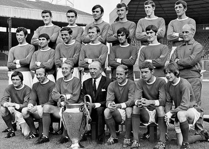 Manchester United - winner of Champions Cup 1967-1968. Back row: Billy Foulkes, John Aston, Jimmy Rimmer, Alex Stepney, Alan Gowling, David Herd. Middle row: David Sadler, Tony Dunne, Shay Brennan, Pat Crerand, George Best, Frances Burns, Jack Crompton. Front row: Jimmy Ryan, Nobby Stiles, Denis Law, Matt Busby, Bobby Charlton, Brian Kidd and John Fitzpatrick.