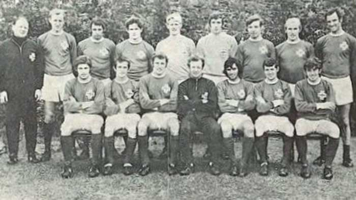 Northern Ireland national football team. Back row: Bobby McGregor (trainer), Sammy Todd, Jimmy Nicholson, Pat Rice, Willie McFaul, Pat Jennings, Alex Elder, Dave Clements, Derek Dougan. Front row: Tommy Jackson, Billy Campbell, Terry Neill, Billy Bingham (manager), George Best, Eric McMordie, Danny Hegan