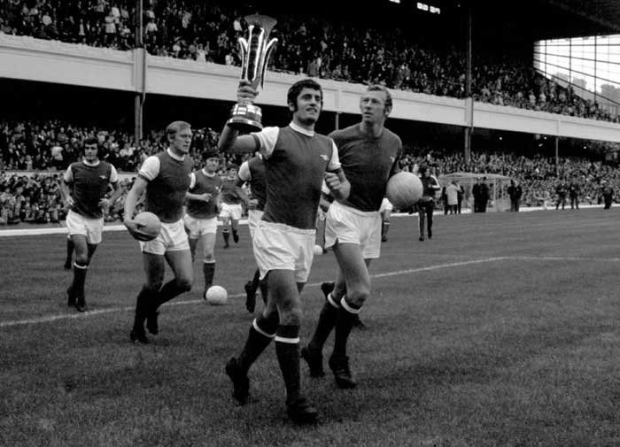 Frank McLintock with the Inter-Cities Fairs Cup.