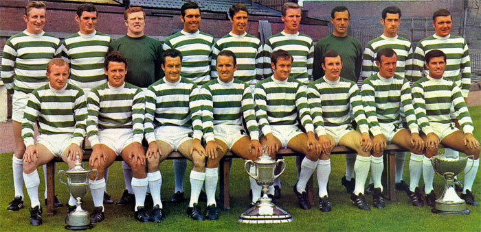 Celtic (Glasgow) - 1969-1970. Standing: Gemmell, Connelly, Fallon, Hughes, Craig, McNeill, Simpson, Callaghan and Murdoch. Sitting: Johnstone, Wallace, Chalmers, Clark, Hood, Brogan, Lennox and Auld.