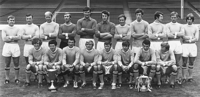 F.C. Manchester City - winner of UEFA Cup Winners Cup 1969-1970. Back row: David Connor, Glyn Pardoe, George Heslop, Harry Dowd (on loan to Charlton), joe Corrigan, Ker. Hufiearn, Arthur Mann, Tommy Booth, Mike Doyle, Alan Oakes, Derek Jeffries. Front row: lan Bowyer, Freddie Hill, Mike Summerbee, Frarxis Lee, Tony Book, Frank Carrodus, Neil Young, Colin Bell.