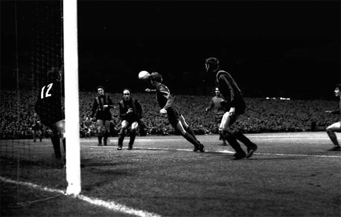 Wyn Davies scoring for Newcastle United against Inter Milan in the Inter-Cities Fairs Cup, first round, second leg at St James Park on September, 30, 1970