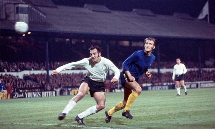 29th September 1971 Chelsea - Jeunesse Hautcharage 13:0. Tommy Baldwin of Chelsea (right) heads a goal, one of his three in the match, watched by captain Eddy Welscher of Jeunesse Hautcharage