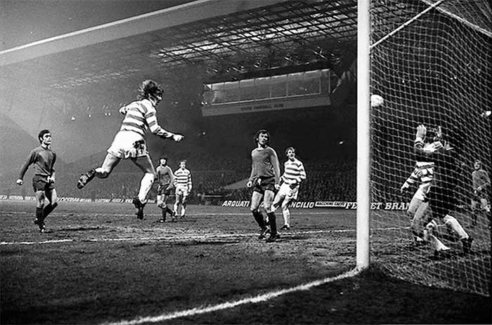 Great pic of Kenny Dalglish scoring agaist Basle in the 1974 European Cup. He was not noted for scoring with his head but this was a beauty. Celtic won narrowly by 6-5 on aggregate after extra time at Parkhead