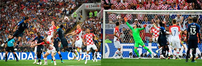 15.07.2018 France - Croatia 4:2. Mario Mandzukic of Croatia scores an own goal past team mate Danijel Subasic