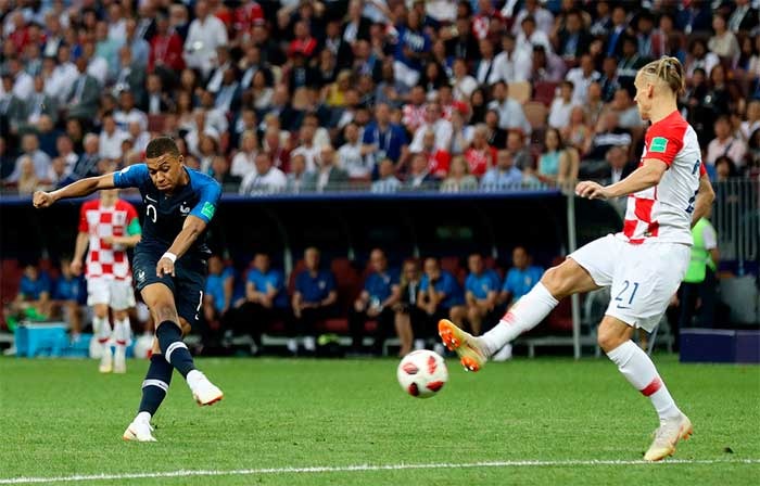 15.07.2018 France - Croatia 4:2. Kylian Mbappe of France scores his teams fourth goal