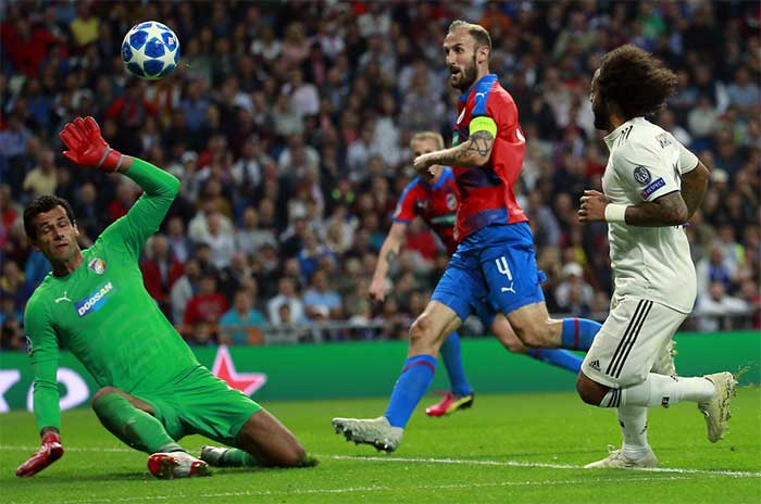 24.10.2018. Real Madrid - Viktoria Plzen 2:1. Marcelo of Real Madrid scores his team's second goal