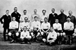 1908 The Great Britain Olympic team which won gold: (back row, l-r) reserve George Barlow, linesman F Styles, Walter Corbett, Horace Bailey, RM Hawkes, FA Council member A Davis, linesman JR Schumacher, referee J Lewis (middle row, l-r) Herbert Smith, Harry Stapley, Vivian Woodward, CH Purnell, Harold Hardman, Rev Kenneth Hunt (front row, l-r) Arthur Berry, Fred Chapman